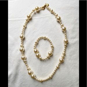 Girls J. Crew Faux Pearl Necklace & Bracelet Set
